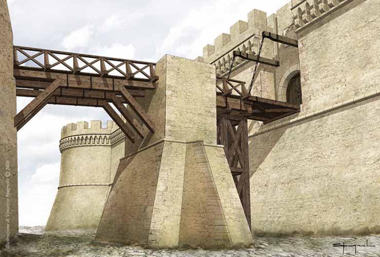 """Le parti in legno che costituivano la porta, il ponte e i """"rastelli"""" dell'ingresso del castello di Crotone"""