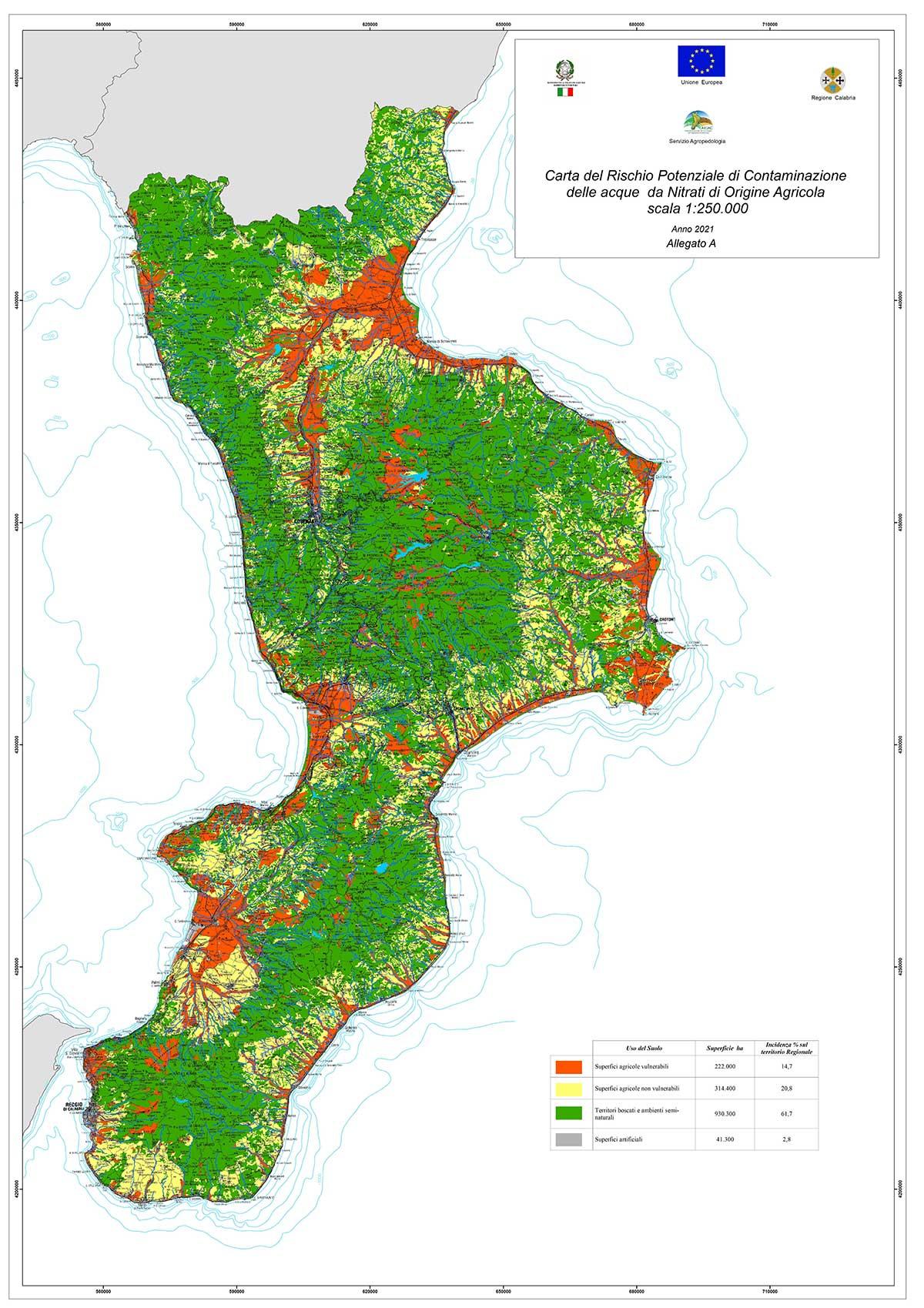 Carta del rischio potenziale di contaminazione delle acque da nitrati di origine agricola